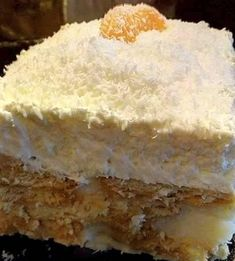 Greek Desserts, Cold Desserts, Greek Recipes, No Bake Desserts, Cookbook Recipes, Cooking Recipes, Greek Cake, Custard Cake, Vanilla Cake