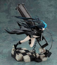 "From the popular ""Black Rock Shooter"" comes yet another PVC figure - this time the ""animation"" version based on the upcoming anime! This new sculpt features a much more dynamic scene compared to. Black Rock Shooter, Anime Cosplay, Original Anime, Wiking Autos, Upcoming Anime, Otaku, Anime Figurines, Anime Toys, Character Poses"