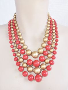 1960s Vintage Gold And Coral Color Beaded Multi Strand Necklace Adjustable Japan