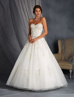 Alfred Angelo Style 2568: ball gown wedding dress with dropped waist bodice and metallic accents