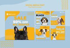Social media post template with dog food. Food Web Design, Dog Design, Pet Branding, Post Animal, Social Media Ad, Dog Logo, Social Media Design, Banner Template, Dog Food Recipes