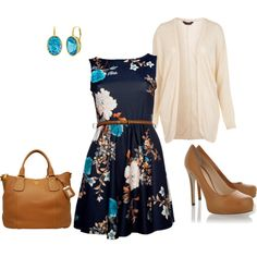 Totally get the dress, with a cream cardigain, a navy skirt under it, and those shoes.