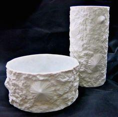 Hutschenreuther Vase und Schale | Muscheldekor | OP ART | matt bisquit porcelain