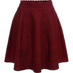Alexander McQueen Full Circle Mini Skirt (28 000 UAH) ❤ liked on Polyvore featuring skirts, mini skirts, victorian skirt, red mini skirt, zipper skirt, panel skirt and short circle skirt