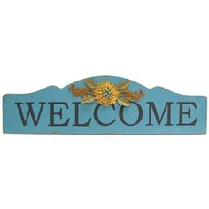 Turquoise Welcome Wall Plaque with Flower | Shop Hobby Lobby