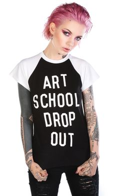 Art School Raglan #disturbiaclothing disturbia art school drop out black metal alien goth occult grunge alternative punk