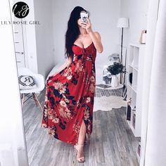 Lily Rosie Girl Red Floral Print Sexy Lace Up V Neck Women Maxi Dresses  Summer Split 28dcbfcdb41b