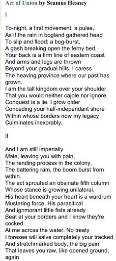 rip seamus heaney pinteres  act of union by seamus heaney