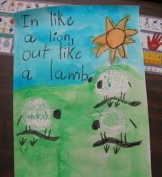 Big thanks to Teach Kids Art  for this lesson idea. The kinders and 1st graders loved the magic of painting on top of white... Weather Crafts Preschool, Activies For Kids, Kindergarten Art Lessons, Kindergarten Classroom, Lamb Craft, Lion And Lamb, Artist Project, Like A Lion, Lion Art