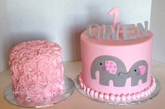 The Cake Market: Pink and grey elephants