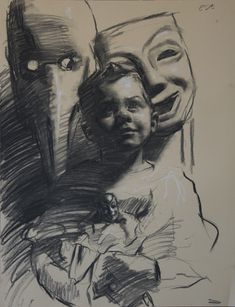 "Teresa Oaxaca ""Max"", 18x26"", charcoal and white chalk on paper"
