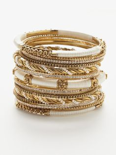 gold and white bangles
