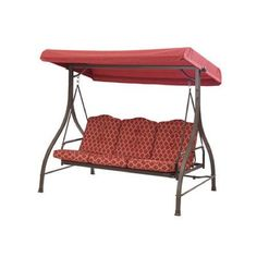 Outdoor Patio Swing 3 Seat Convertible Daybed Red Tan Furniture