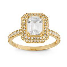 Gioelli 10k Gold Emerald Cut Cubic Zirconia Designer Ring