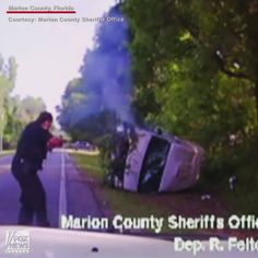 """VIDEO: Florida police saved a suspect from a burning vehicle after a high-speed chase. The man, known by the alias of """"Gold Teeth,"""" fled after police were tipped off that he was going to commit a home invasion robbery."""