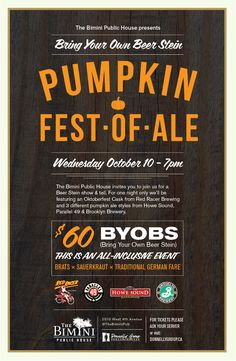 BYOBS Pumpkin Fest-Of-Ale, Wednesday, October 10th
