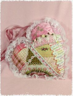 Pink Embroidered Heart Pillow/Doorhanger by WarmHeartBears on Etsy, $25.00