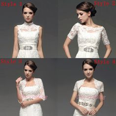 Half Short Sleeve Lace Jacket Wedding Bridal Dress Bolero Shrug Coat Pick Color | eBay