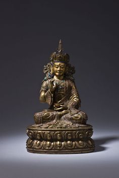 Padmasambhava Central Tibet 15th century Bronze with copper inlays and semi - precious stones H.: 20 cm © Mehmet Hassan Asian Art