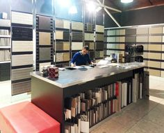 One of our very talented Interior Design Consultants, Neil, hard at work at the Perini Tiles Showroom: Visit us at 615 Bridge Rd Richmond.
