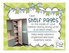 I need to do this- write down what is on each shelf, tape to the back of the cabinet door