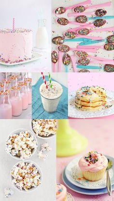Sprinkles children's party ideas kids, birthday cake, pancakes, cupcake, popcorn.