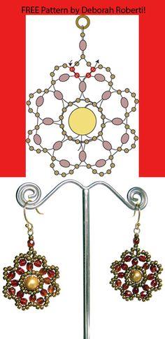Free Beaded Flower Earrings Pattern by Deborah Roberti!
