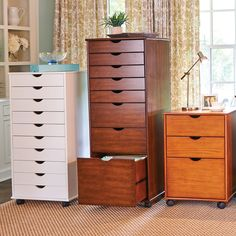 Store all your papers, files and office supplies in a Wellesley Rolling Storage Cart. These small space furniture pieces fit nicely in a small home office and you can wheel them around where you need them.