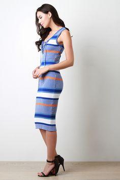 Rib Knit Lace Up Deep V Sleeveless Sweater Dress