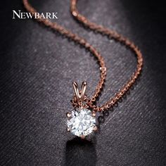 18K Rose Gold Plated with 6 Prongs 7mm 1.5ct CZ Stone Classic Pendant Necklace (JingJing GN046A)