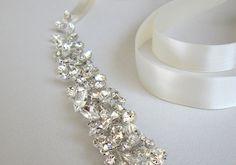 Swarovski floating crystal belt Bridal belt sash by SabinaKWdesign $312...would love as a headband
