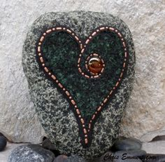 Heart Shaped Copper and Tempered Glass - Mosaic Rock Paperweight / Garden Stone. $28.00, via Etsy.