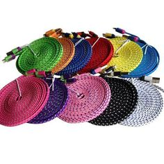 """(99+) iPhone 5 / 5s / 5c Lightning Cable USB Charger Sync Cord """"10 Feet"""" (FLAT NOODLE DESIGN) ALL COLORS from 3D Luxe"""