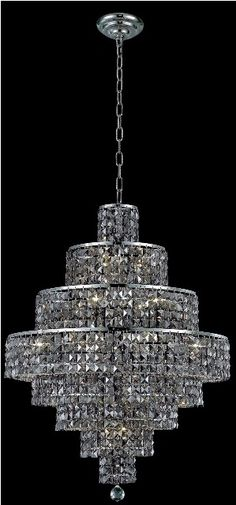 Maxim Silver Shade Crystal Chandelier w 18 Lights in Chrome - http://chandelierspot.com/maxim-silver-shade-crystal-chandelier-w-18-lights-in-chrome-523317817/