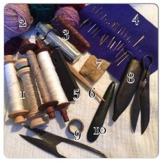 The top 10 sewing supplies in my medieval sewing kit, including the seam smoother and the wh...
