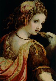 """oldpainting: """"Ridolfo Ghirlandaio, Leda and the Swan, 1560s. Ridolfo Ghirlandaio (or Ghirlandajo) (Florence 14 February 1483 – 6 June 1561) was an Italian Renaissance painter active mainly in..."""