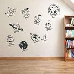 Wall Stickers Home decor DIY poster Decal Nursery mural Vinyl Personized Solar System Spaceship in universe Childrens Boys Wall Stickers, Wall Stickers Home Decor, Window Stickers, Wall Decals, Bedroom Murals, Wall Drawing, Sistema Solar, Kids Room Art, Wall Spaces