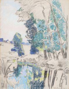 Armand Guillaumin (French, Les Bords de l'Orge à Breuillet, Monet, French Impressionist Painters, Tumblr Drawings, Nature Sketch, Landscape Mode, Le Havre, Nature Journal, Art Moderne, Art Graphique