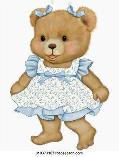 Illustration of Teddy bear in blue dress Clipart Baby, Baby Shower Clipart, Bear Clipart, Teddy Bear Images, Teddy Bear Cartoon, Teddy Bear Pictures, Cute Teddy Bears, Tatty Teddy, Cute Baby Bunnies
