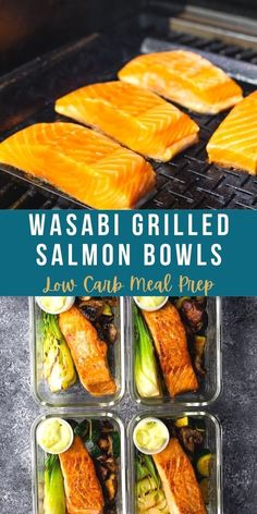 These low carb grilled salmon bowls have just 5 g net carbs per bowl and are perfect for keeping your oven off this summer! #sweetpeasandsaffron #lowcarb Grilled Sweet Potatoes, Grilled Veggies, Grilled Salmon, Best Lunch Recipes, Low Carb Recipes, Healthy Recipes, Amazing Recipes, Lunch Meal Prep, Meal Prep Bowls
