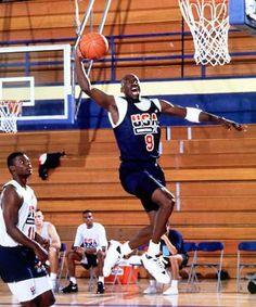 Michael Jordan in 1992 Olympics Dream Team scrimmage practice game.