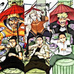 Naruto and Shikamaru from Naruto. Naruto and Shikamaru from Boruto. Boruto and Shikadai from Brouto.