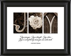Alphabet Photography - Children's Wish Series - Joy.Quote 'Joy is a prayer - Joy is strength - Joy is love - Joy is a net of love by which you can catch souls. ' - Mother Teresa Printed on Professional Grade Crystal Archive Photographic Paper, mounted on wood, framed with a black high quality wood frame.15 x 13 inches $45.00