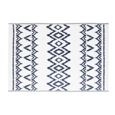 Tapis d'extérieur blanc motifs graphiques bleus 180x270   Maisons du Monde