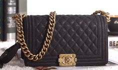 Chanel Boy - Old Medium in Black Caviar Leather and Aged Gold Hardware #wishlist