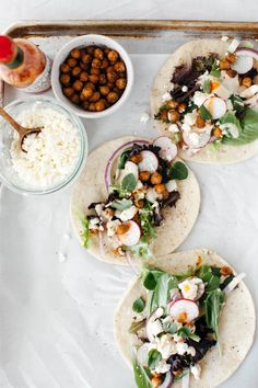 CUMIN CHICKPEA SALAD TACOS WITH CHIPOTLE TAHINI