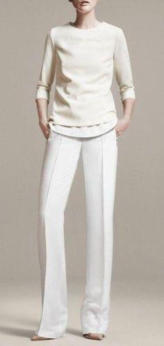 @roressclothes clothing ideas #women fashion white pants, sweater