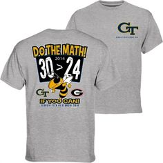 GA Tech Yellow Jackets vs. Georgia Bulldogs Gray 2014 Rivalry Week Score T-Shirt