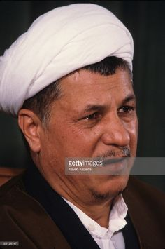 The Speaker of the Iranian parliament (Majles), Ayatollah Ali Akbar Hashemi Rafsanjani, at a press conference at the Majlis Building, Tehran, Iran, 20th April 1987.
