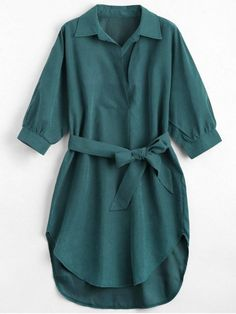 Fall and Spring Yes Solid Shirt Knee-Length Straight Causal and Going Brief Three Quarter Sleeve Belted Shift Dress Stylish Dresses For Girls, Stylish Dress Designs, Designs For Dresses, Cute Casual Outfits, Stylish Outfits, Casual Dresses, Green Dress Casual, Girls Fashion Clothes, Fashion Dresses